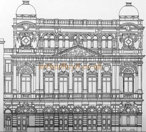 The Front Elevation of Daly's Theatre - From 'Modern Opera Houses and Theatres' by Edwin O Sachs, 1896-1898, and held at the Library of the Technical University (TU) in Delft - Kindly sent in by John Otto.