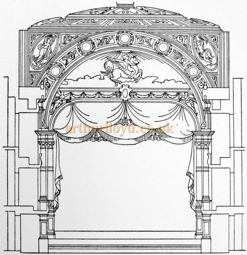 The Proscenium of Daly's Theatre - From 'Modern Opera Houses and Theatres' by Edwin O Sachs, 1896-1898, and held at the Library of the Technical University (TU) in Delft - Kindly sent in by John Otto.