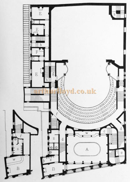 Ground Plan of Daly's Theatre - From 'Modern Opera Houses and Theatres' by Edwin O Sachs, 1896-1898, and held at the Library of the Technical University (TU) in Delft - Kindly sent in by John Otto.