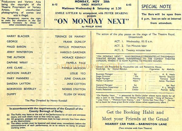 A programme for 'On Monday Next' at the Grand Theatre Derby in 1949, which was also running at the Comedy Theatre in London at the same time and was quite a success - Courtesy Alan Chudley.