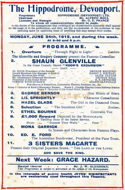 Cast details from a Variety programme for the Devonport Hippodrome for the week of June the 24th, 1912.