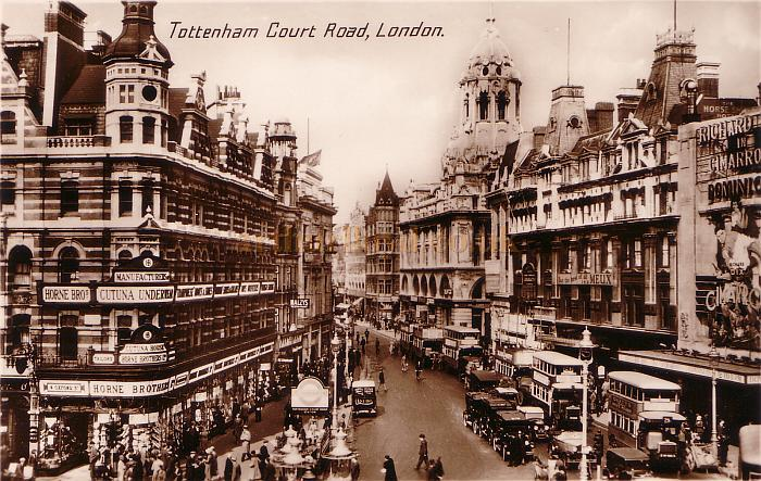 A 1931 Postcard of Tottenham Court Road showing the Dominion Theatre near right. The Film showing at the Dominion at the time was 'Cimarron' starring Richard Dix.