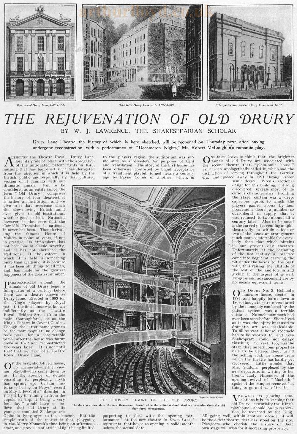 The Rejuvenation of Old Drury - From The Graphic, April 15th, 1922.
