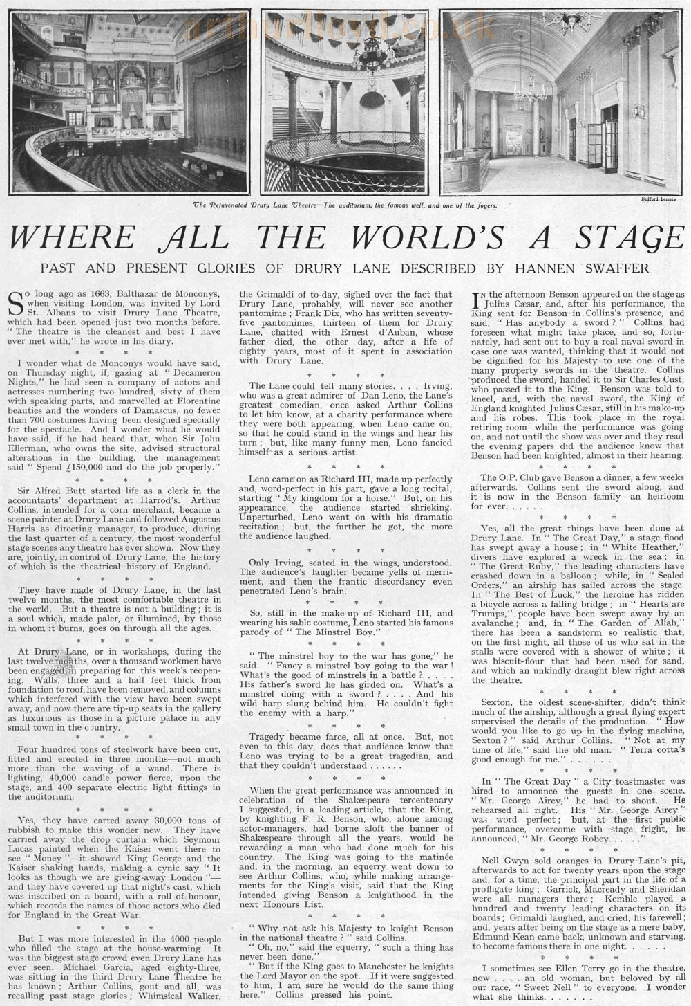 Where all the World's a stage - From The Graphic, April 22nd, 1922.