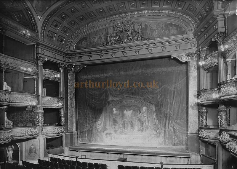 A Photograph of the Auditorium and Stage of the Fourth and Present Theatre Royal, Drury Lane shortly before its 1922 reconstruction.