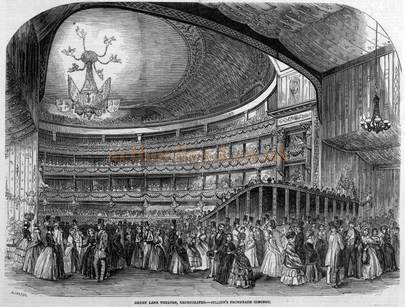 The auditorium of the Theatre Royal, Drury Lane after Frederick Gye's redecoration of 1847 - From the Illustrated London News, October 16th, 1847.