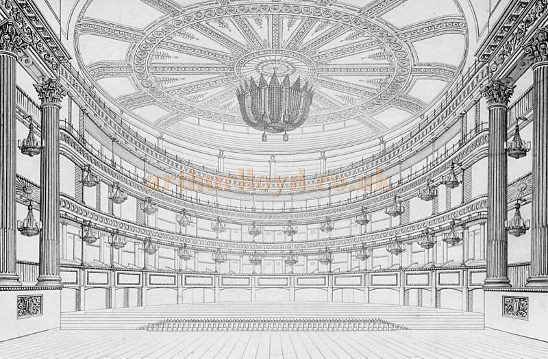 A sketch of the original auditorium and stage of the Fourth Theatre Royal Drury Lane before its 1922 reconstruction - From 'Illustrations of the public buildings of London, Volume 1' by J. Britton and A. Pugin, 1825 - Courtesy Alfred Mason.