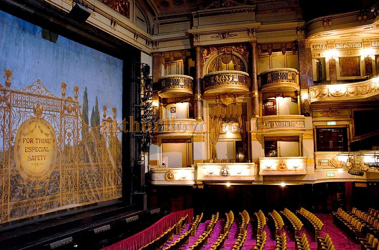 A wonderful photograph of the auditorium of the Theatre Royal, Drury Lane, which also shows the safety curtain - Courtesy Jeremy Hoare.