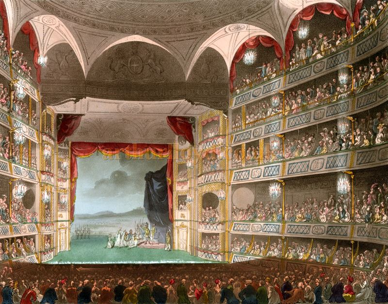 The Auditorium and Stage of the Theatre Royal, Drury Lane in 1808 - From Microcosm of London.