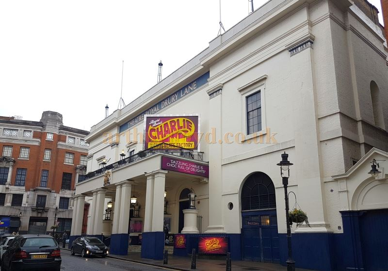 The Theatre Royal, Drury Lane on the last day of the Run of Roald Dahl's 'Charlie and the Chocolate Factory', January 7th 2017 - Just visible is a poster for '42nd Street' which will open here on the 4th of April 2017 - Photo M.L.
