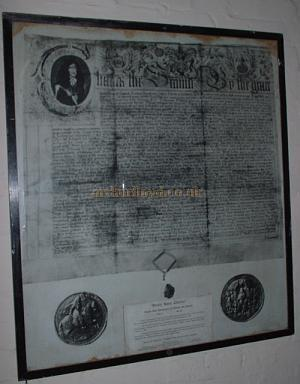 A 1949 Copy of the Drury Lane Charter of 1663 currently displayed in the basement of the Theatre's backstage area Photo M.L.