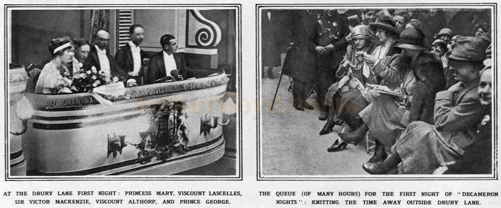 Princess Mary and other dignitaries in the Royal Box of the Theatre Royal, Drury Lane on the Theatre's reopening night with the play 'Decameron Nights' on the 20th April 1922, and a queue for the opening - From The Sketch, April 26th 1922.
