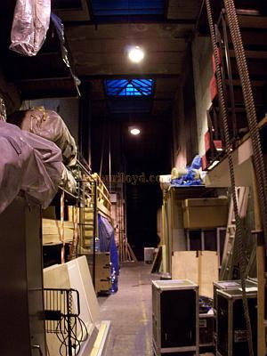 The Long Dock behind the stage at Drury Lane. This is used for temporary storage of equipment and for the cast and crew to get from one side of the stage to the other during performances.