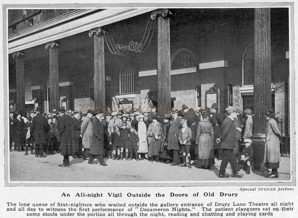 An all night queue for the opening of 'Decameron Nights' at the newly reconstructed Theatre Royal, Drury Lane - From The Sphere, April 29th, 1922.
