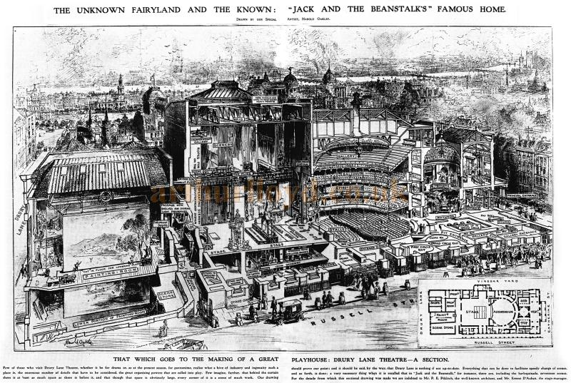 A sketch of the original auditorium, stage, FOH, and backstage of the Fourth Theatre Royal Drury Lane in 1910 during the run of the Pantomime 'Jack and the Beanstalk' - Illustrated London News 1910 - Courtesy Mark Fox, Really Useful Theatres - Click to Enlarge and for more information.