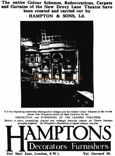 An Advertisement by Hampton & Sons, Decorators and Furnishers of the Theatre Royal, Drury Lane's New Auditorium in 1922 - From the ERA, April 26th 1922.