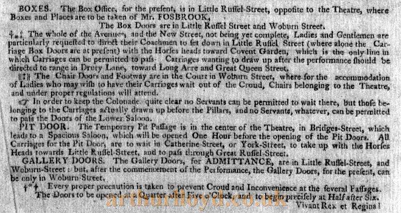 Instructions on how to approach and enter the third Theatre Royal, Drury Lane - From A Bill for a 'Grand Selection of Sacred Music' from the works of Handel which opened the third Theatre Royal, Drury Lane on Wednesday the 12th of March 1794.