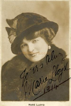A signed card from the much loved Music hall artiste Marie Lloyd - Courtesy Tony Craig who says 'The Card was given to my Grandma and Granddad when they worked with her in 1914.