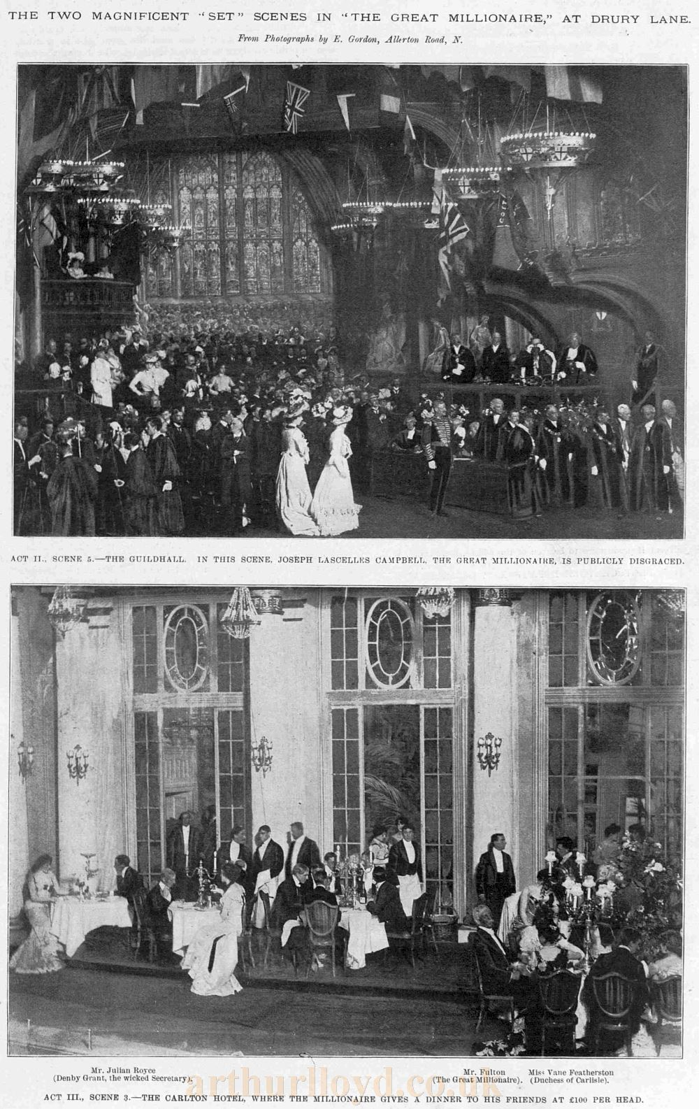 Two Magnificent 'Set' scenes in 'The Great Millionaire' the 1901 reopening production at the Theatre Royal, Drury Lane - From The Sketch, September 18th 1901.