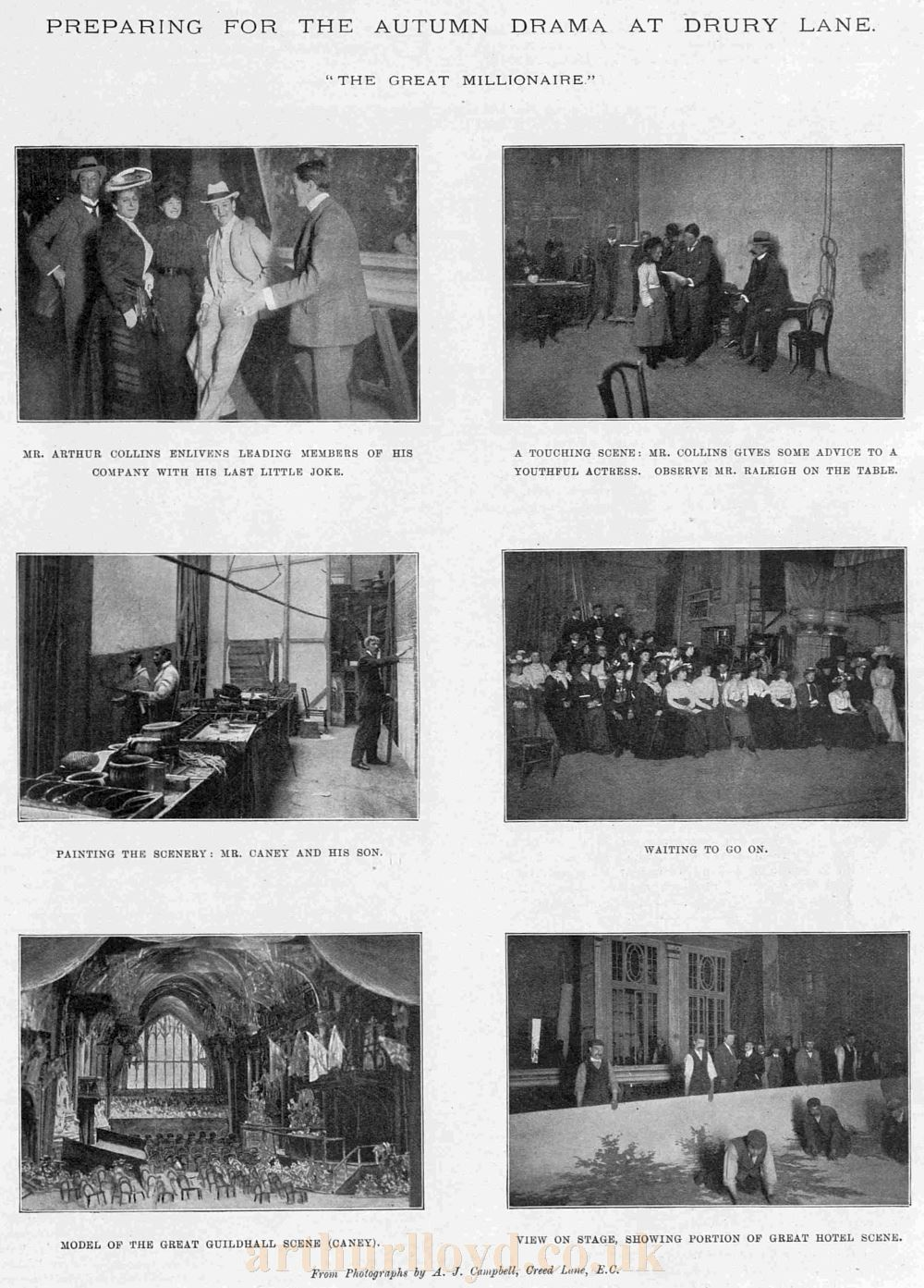 Preparing for the Autumn Drama at Drury Lane, the 1901 reopening production of 'The Great Millionaire' - From The Sketch, September 18th 1901.