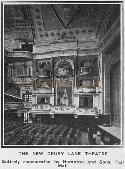 The auditorium of the Theatre Royal, Drury Lane as redecorated by Hampton and Sons, Pall Mall - From The Tatler, April 26th 1922.