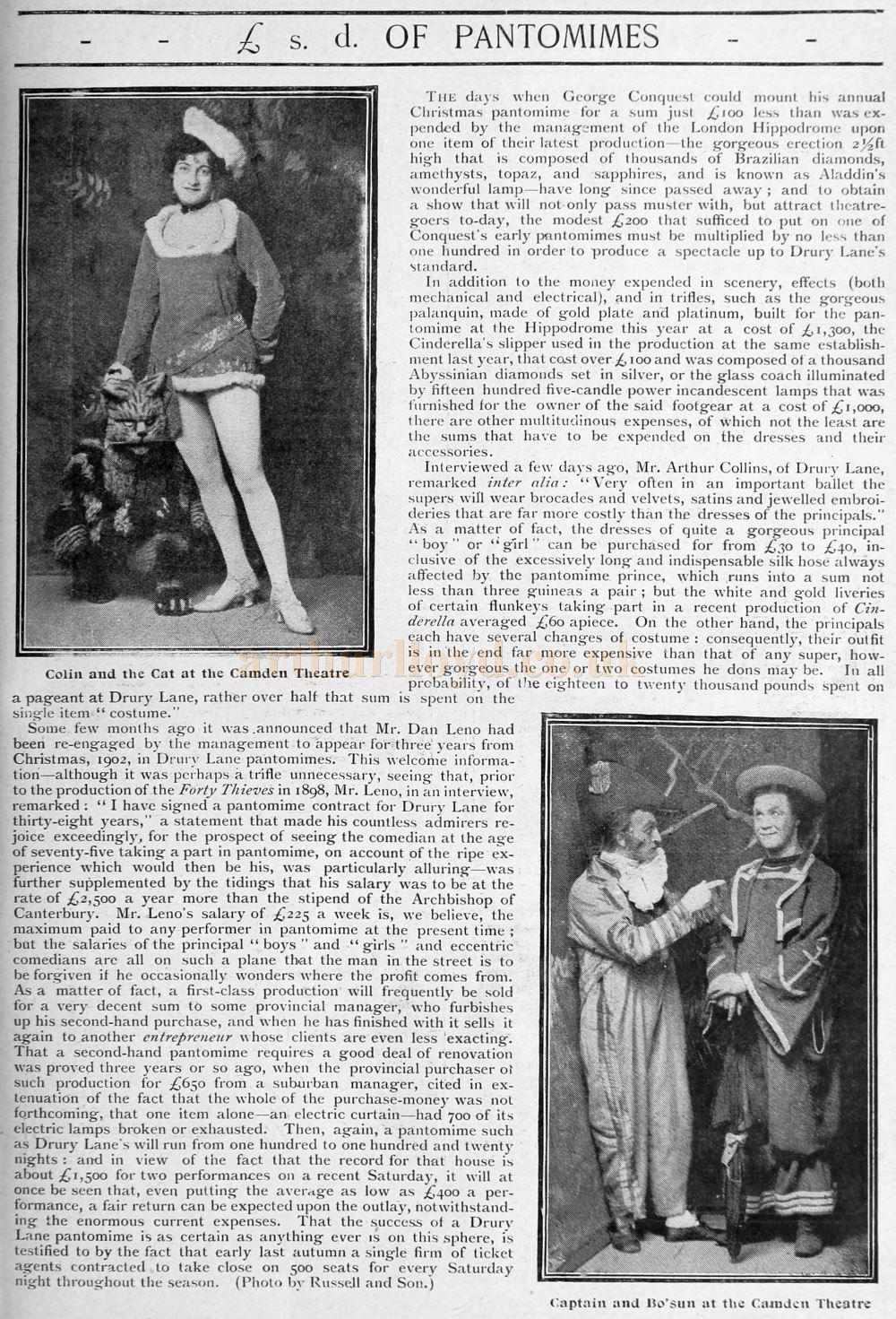 The £ s. d. of Pantomimes - From Black & White Budget, 18th January 1902.