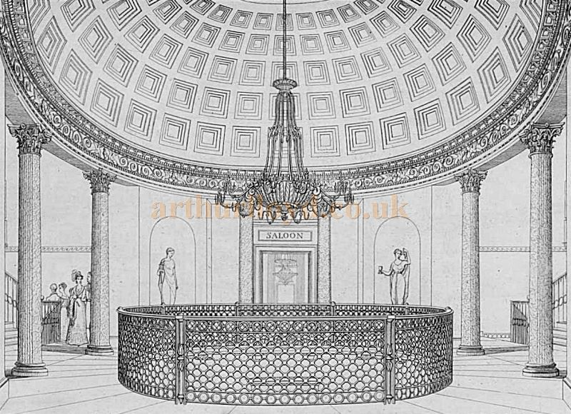 A sketch by B. Wyatt (Architect) showing the Rotunda of the Fourth Theatre Royal Drury Lane in the 1820s and which is still there today - From 'Illustrations of the public buildings of London, Volume 1' by J. Britton and A. Pugin, 1825 - Courtesy Alfred Mason.