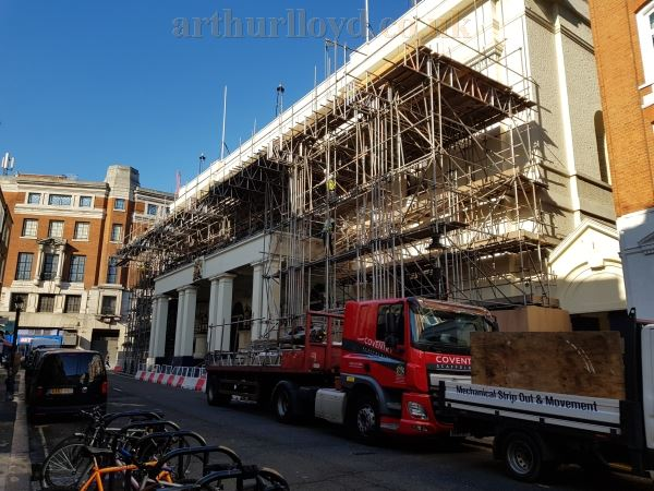 Scaffolding being erected to the front of the Theatre Royal, Drury Lane, in February 2019.