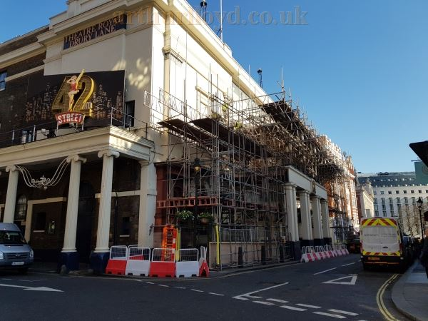 Right - Scaffolding being erected to the front of the Theatre Royal, Drury Lane, in February 2019.