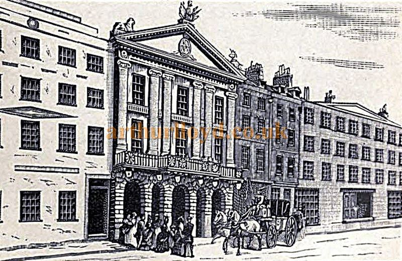 A Sketch showing Robert Adam's 1775 Brydges Street Facade for the second Theatre Royal which actually linked to the Theatre itself via a passageway - From 'Diprose's book of the stage and the players' Circa 1877.