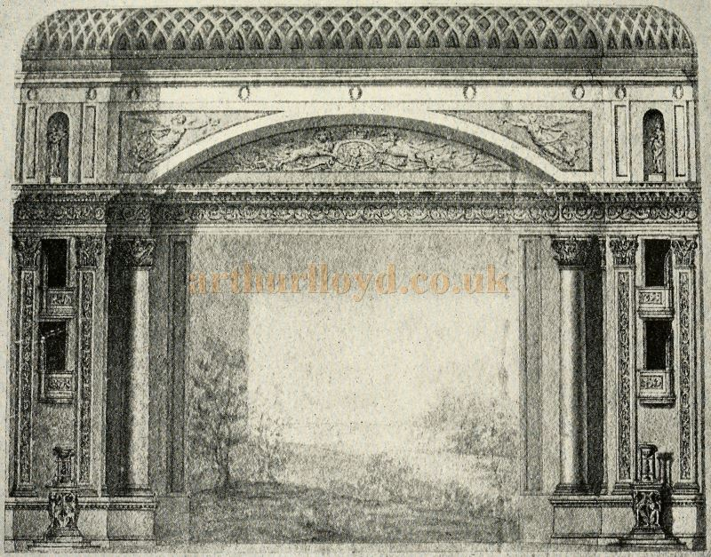 The Proscenium of the Theatre Royal, Drury Lane of 1812 from the architect's drawings held at the Theatre Collection, Harvard College Library - Reproduced in 'Sheridan to Robertson' by Ernest Bradlee Watson, published in 1926.