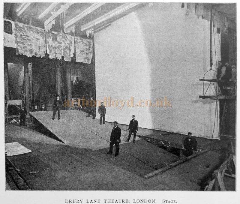 The Drury Lane Lifts in action in 1898 - From 'Modern Opera Houses and Theatres' by Edwin O Sachs, Published 1896-1898, and held at the Library of the Technical University (TU) in Delft - Kindly sent in by John Otto.