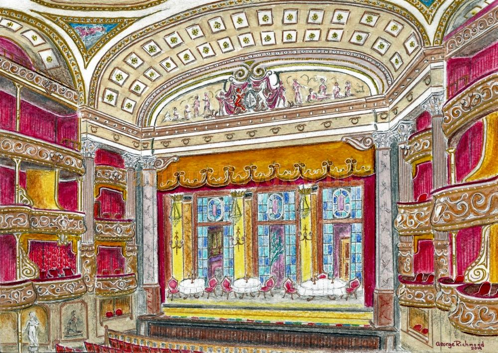 A Painting by George Richmond depicting the Auditorium and Stage of the Theatre Royal, Drury Lane, after Philip Pilditch's alterations of 1901.