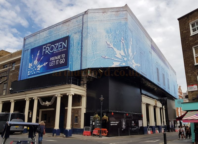 The Theatre Royal Drury Lane during its refurbishment in July 2019 with advertising for the musical 'Frozen' which will reopen the Theatre in the Autumn of 2020 - Photo M.L.