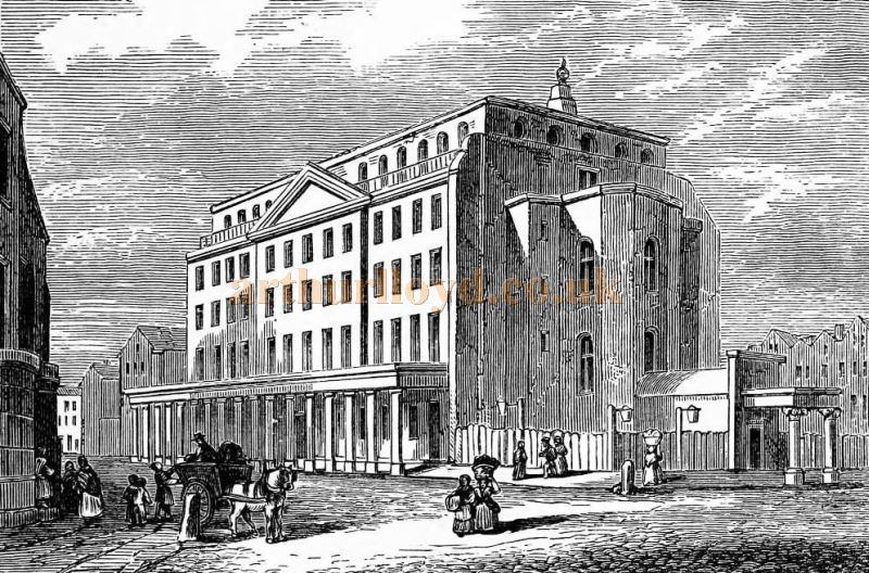 The Third Drury Lane Theatre in 1806, from an original drawing by Pugin and published in 'Haunted London' by Walter Thornbury 1880.