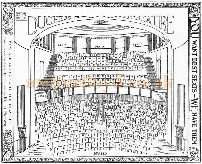 A Seating Plan for the Duchess Theatre from the pre-computerised days of manual ticketing - Courtesy Martin Clark and Doreen Gould.