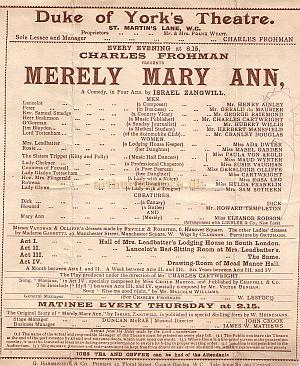 Programme detail for 'Merely Mary Ann' during Charles Frohman's reign at the Duke Of York's Theatre early 1900s.