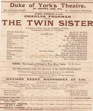 Programme detail for 'The Twin Sister' during Charles Frohman's reign at the Duke Of York's Theatre early 1900s.