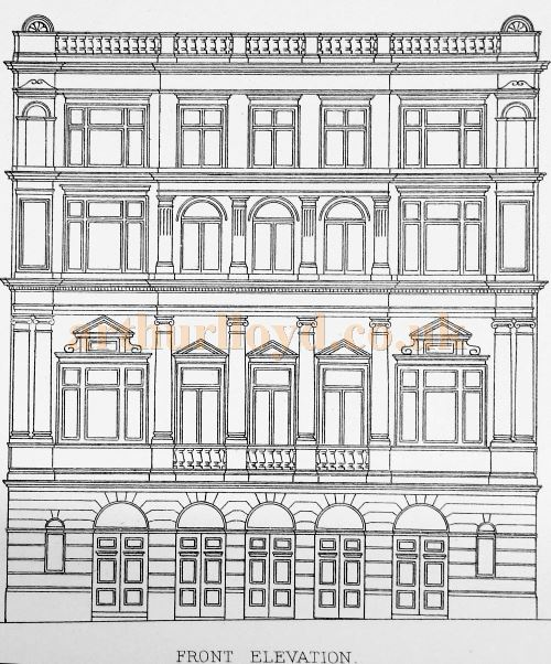 A Sketch of the Front Elevation of the Duke of York's Theatre - From 'Modern Opera Houses and Theatres' by Edwin O Sachs, Published 1896-1898, and held at the Library of the Technical University (TU) in Delft - Kindly sent in by John Otto.