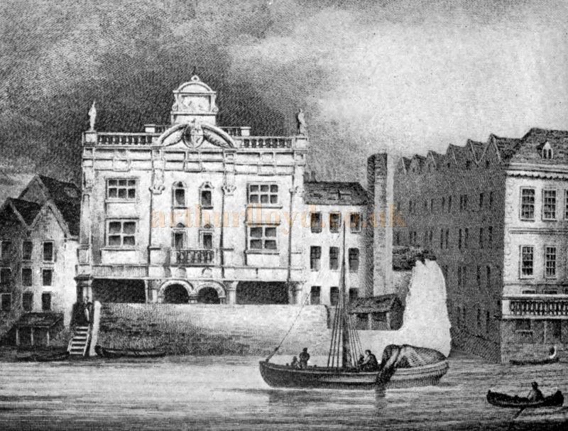 The Duke's Theatre, Dorset Gardens shortly before its Demolition in 1709. From an engraving taken from a contemporary drawing published by J. Nichols & Co., July 1, 1814 and Reproduced in 'Shakspere to Sheridan' by Alwin Thaler in 1922.