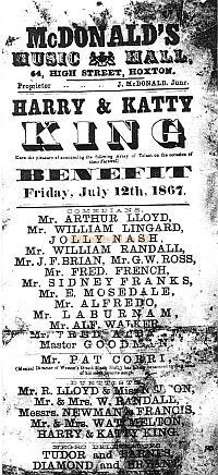 A Bill for Arthur Lloyd, and his wife Katty King and her brother Harry, at McDonald's Music Hall in 1867 - Click for details on this Theatre.