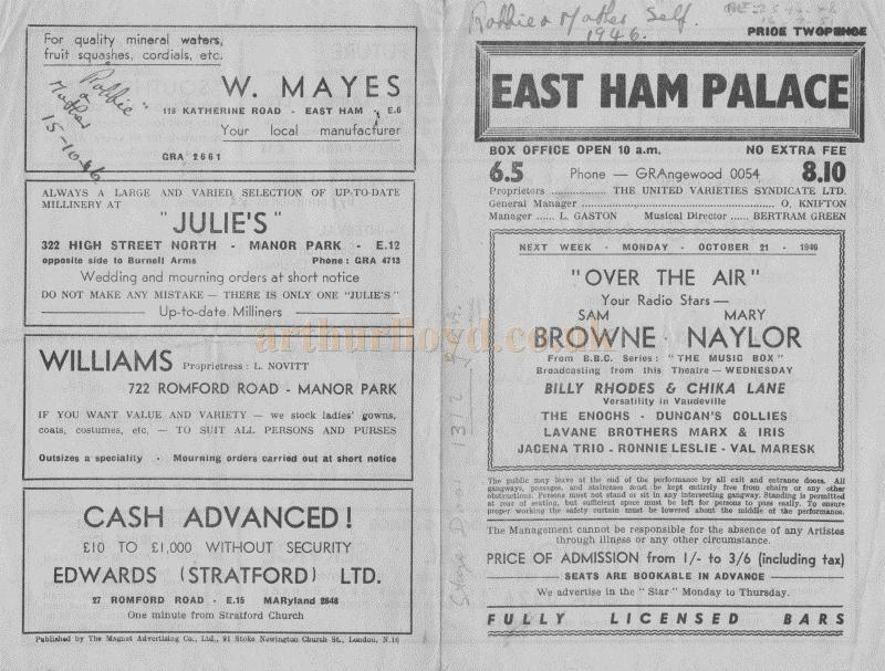 A Variety programme for the East Ham Palace dated October 14th 1946 - Courtesy Malcolm Chapman