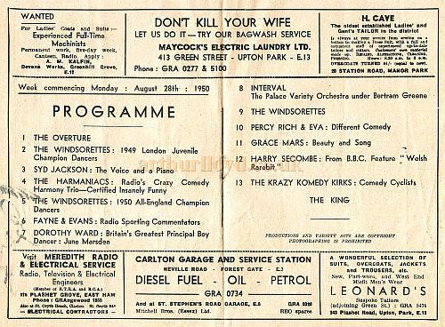 Variety Programme for the East Ham Palace on August the 28th 1950.