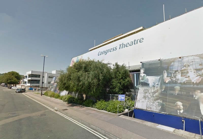 A Google StreetView Image of the Congress Theatre, Eastbourne shrouded in scaffolding during repair work to the building's structure in 2010 - Click to Interact