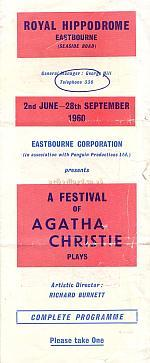 A programme for 'A Festival of Agatha Christie plays' at the Royal Hippodrome, Eastbourne