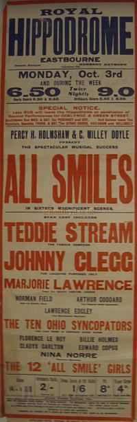 A Poster for 'All Smiles' at the Royal Hippodrome Theatre, Eastbourne - Courtesy Stephen Wischhusen.