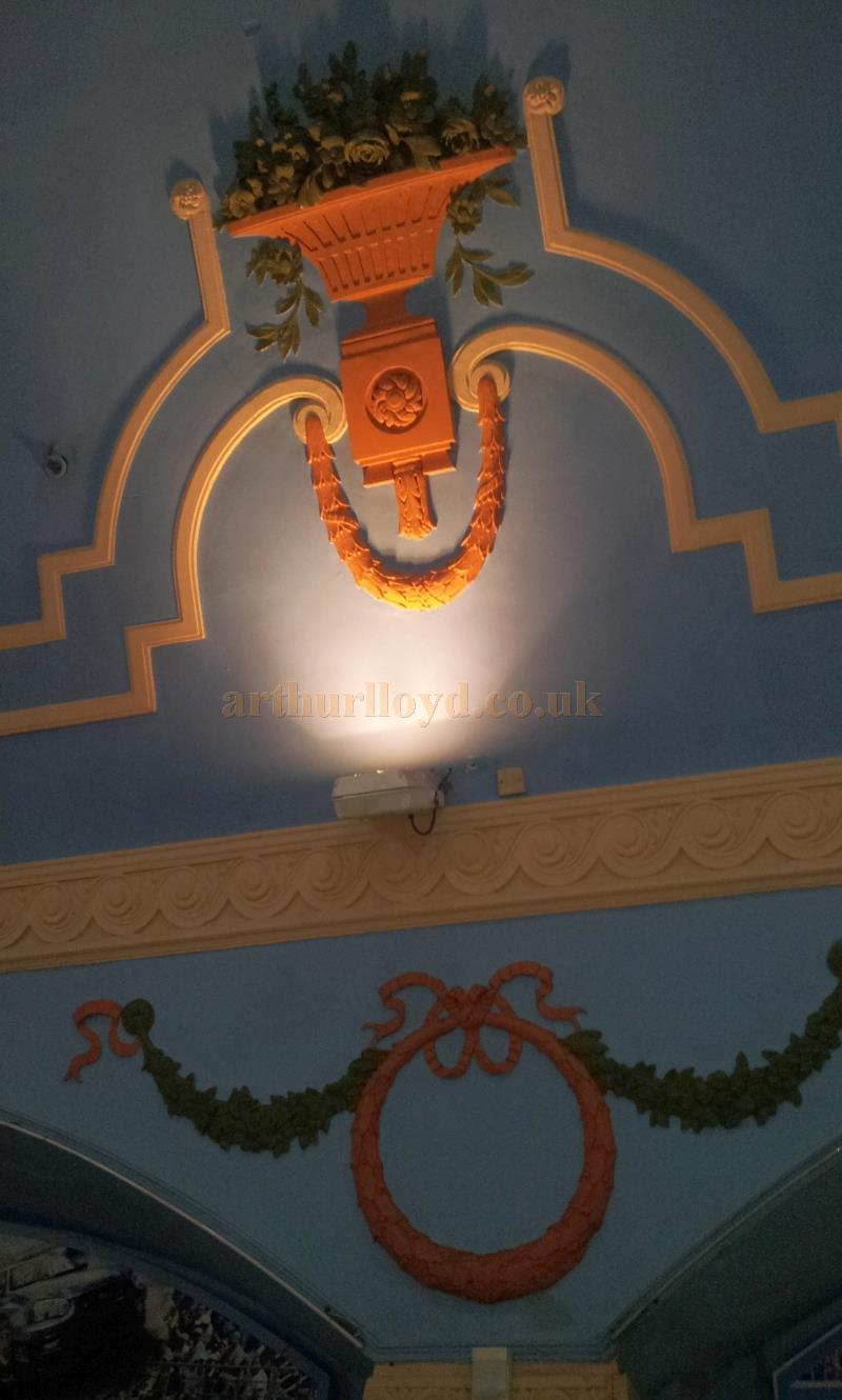 A photograph showing some of the surviving plasterwork detail inside the Eastboune Pier Pavilion in September 2013 - Courtesy George Richmond.