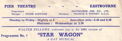 Programme detail for the Pier Theatre, Eastbourne in 1951.