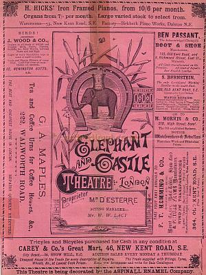 A Programme for 'Little Bo-Peep' at the second Elephant & Castle Theatre on the 24th of December 1889.