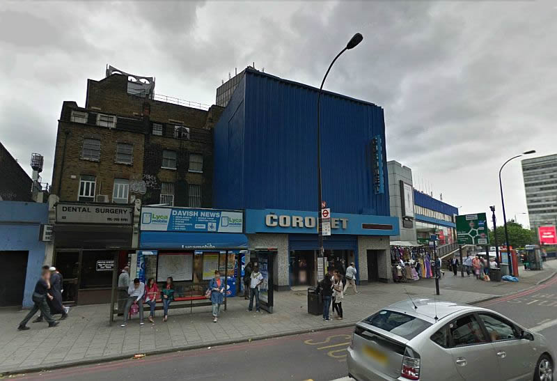 A Google Streetview Image of the Coronet Theatre, New Kent Road, formerly the Elephant and Castle Theatre - Click to Interact.